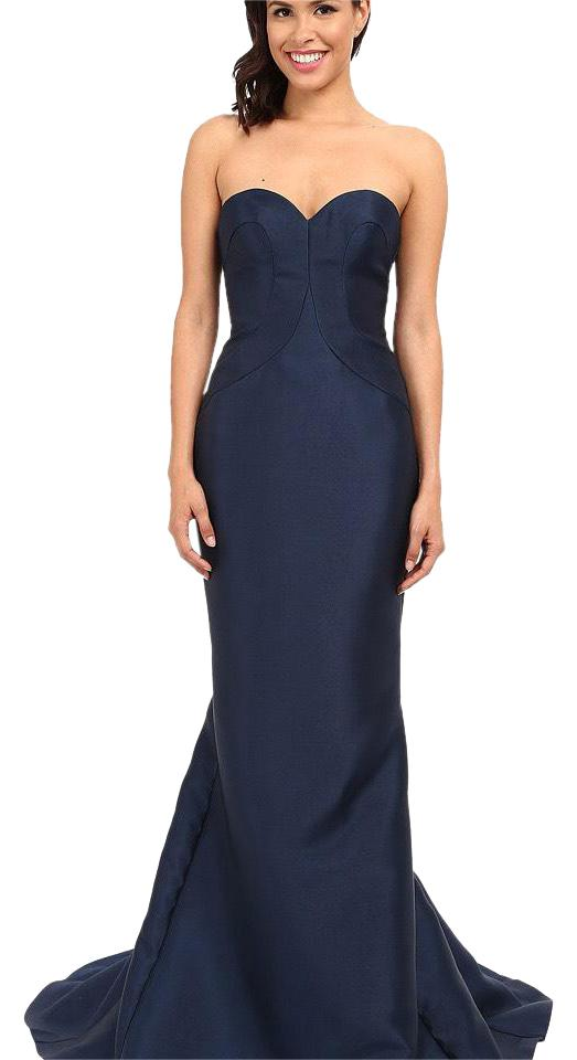 Faviana Navy Strapless Fit And Flare Prom Gown Long Formal Dress