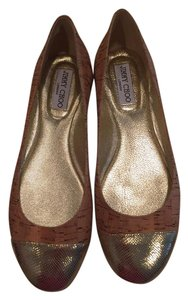 Jimmy Choo Cork Gold Toe Ballet tan Flats
