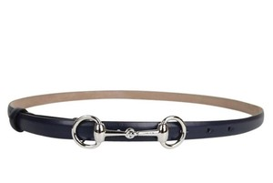Gucci Gucci Leather Skinny Belt w/Horsebit Buckle 282349 Navy 4116 90/36