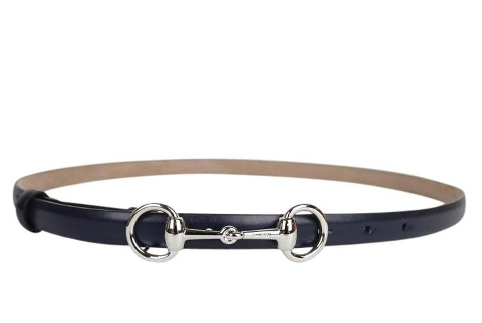 c95e0c3cce6 Gucci Gucci Leather Skinny Belt w Horsebit Buckle 282349 Navy 4116 105 42  Image ...