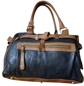 Audrey Brooke Leather Two-tone Satchel in Black