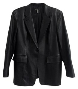 DKNY Leather New York Donna Karan Suiting Black Blazer