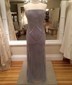 Adrianna Papell Silver Grey Sequined 091897350 Formal Bridesmaid/Mob Dress Size 6 (S)