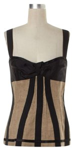 Dolce&Gabbana Corset Bustier Linen Striped Top Beige Black