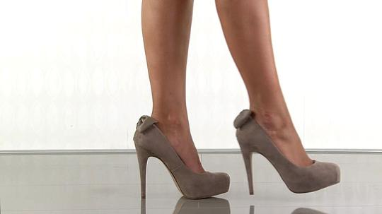 Dolce Vita Suede Stiletto Hidden Platform Bow Taupe Suede Pumps