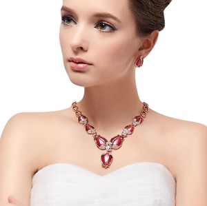 Other Rose Gold Plated Red Opal Stone Jewelry Set for Woman - Earrings and Necklace