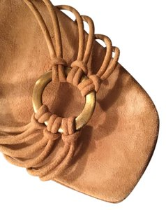 Martinez Valero Brass Ring On Top Tan Suede Sandals