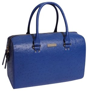 Kate Spade Ostrich Melinda Blueberry Embossed Leather Satchel in blue
