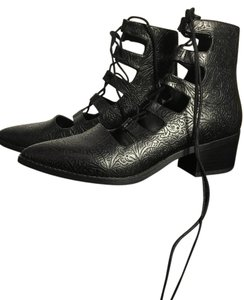 Miista Winter Lace-up Embossed Black Boots