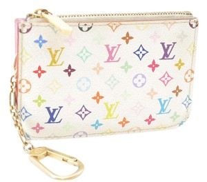 Louis Vuitton White Mulitcolor Monogram Pink Cles Credit Card Wallet Keychain