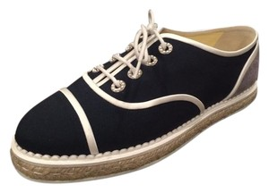 Chanel Espadrille Cc Flats Canvas Navy Athletic