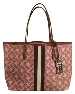 Juicy Couture Vintage Monogram Tote in Light Pink with Brown Leather Trim