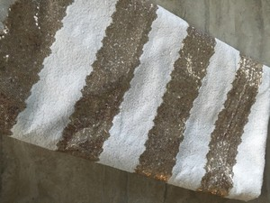 Champagne White Sequin Stripe Overlay Tablecloth