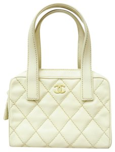 Chanel Vintage Calfskin Leather Tote in Beige