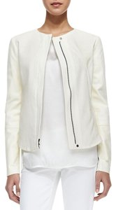 Vince Leather Perforated Fitted White Leather Jacket