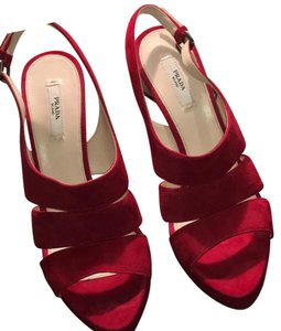 Prada Red suede Platforms