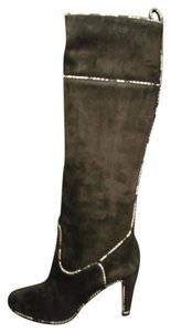 Christian Louboutin New Watersnake Trim Dark Gray/Grey Charcoal Boots