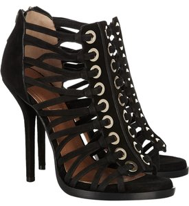Givenchy Gold Eyelet Suede Cage Heels Black Sandals