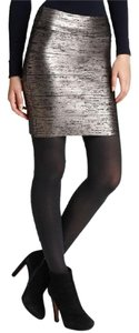 BCBGMAXAZRIA Elegant Rock-chic Bandage Metallic Finish Timeless Mini Skirt Silver Black