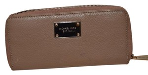 Michael Kors Michael Kors Taupe Leather Zip Around Wallet