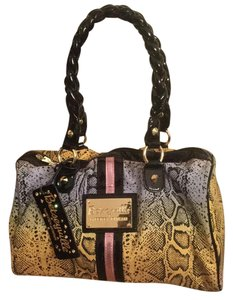 Betsey Johnson Limited Edition Metallic Satchel in Multi-color Snakeskin Print