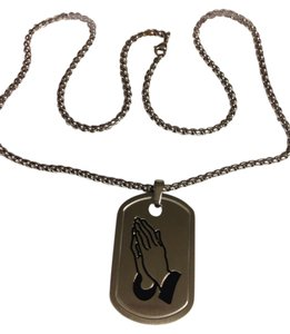 Other STAINLESS STEEL PENDANT W/PRAYING HANDS REVERSE SERENITY PRAYER NIB