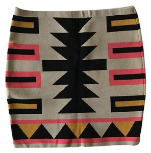 Rachel Roy Mini Aztec Stretchy Tribal Mini Skirt Multi