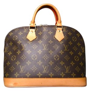 Louis Vuitton Monogram Alma Canvas Double Zipper Satchel in Brown