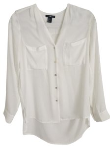 H&M Professional Casual Casual Work Clothing Work Clothes Button Ups Button Down Shirt white
