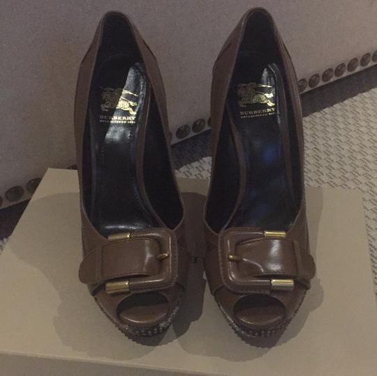 Burberry dark tan Platforms
