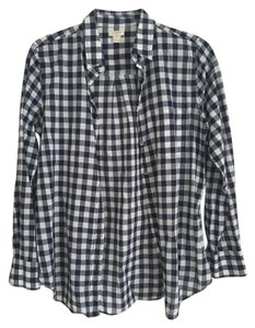 J.Crew Checkered Navy Button Down Shirt Blue and white