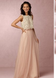BHLDN Ivory Top and Blush Pink Skirt Lace Tulle Louise Cleo Feminine Bridesmaid/Mob Dress Size 0 (XS)