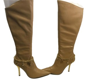 Baby Phat Camel stretch knee boots gold fancy heels w charms knee Boots