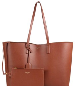 Saint Laurent Classic Leather Tote in chocolate brown