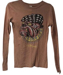 Ed Hardy T Shirt camel with multi colors and studs
