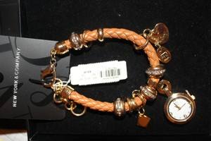 New York & Company NY & Company Brown Rope Leather Adjustable Bracelet Watch Gold Crystal