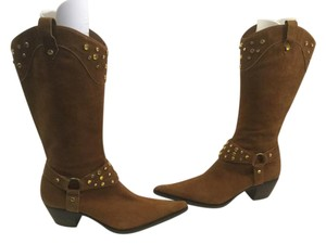 Steven by Steve Madden Stack Wood Heels Brown suede leather leather lining stirrups yellow crystals cowboy Boots