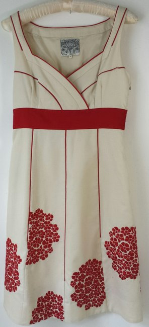 Anthropologie short dress (2) creme red Floreat Coral Way Cotton Sundress Floral on Tradesy