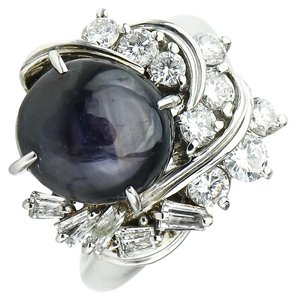 Star Sapphire & Diamonds Platinum Ring Star Sapphire & Diamonds Platinum Ring