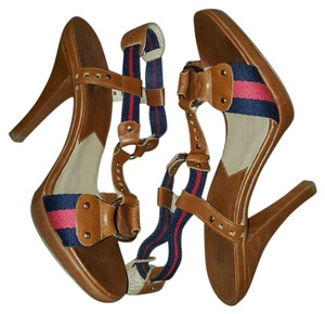 Michael Kors Brown with red and blue straps Pumps