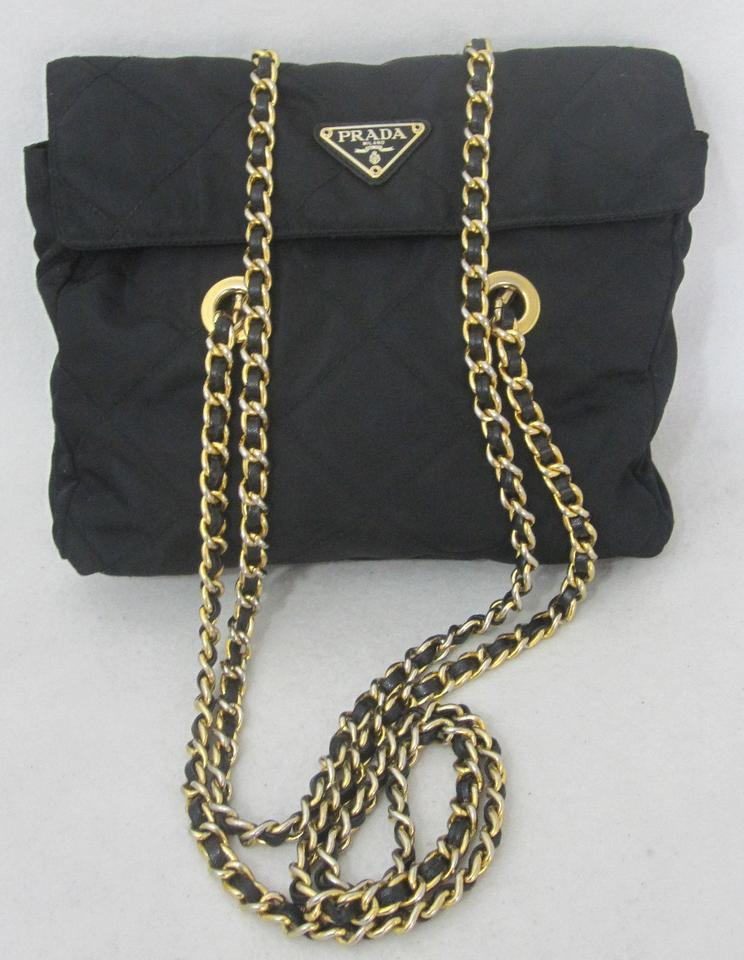 e2c8a571381865 Prada Quilted Gold Chain Handbag Italy Black Nylon Leather Shoulder ...