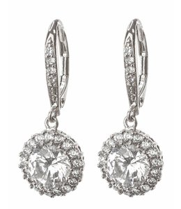 Kenneth Jay Lane New CZ Round Pave Halo Drop Earrings w/Box, KE030