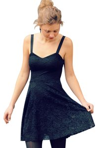 Free People short dress Black Flocked Velvet Lace Fit & Flare Sz Small on Tradesy