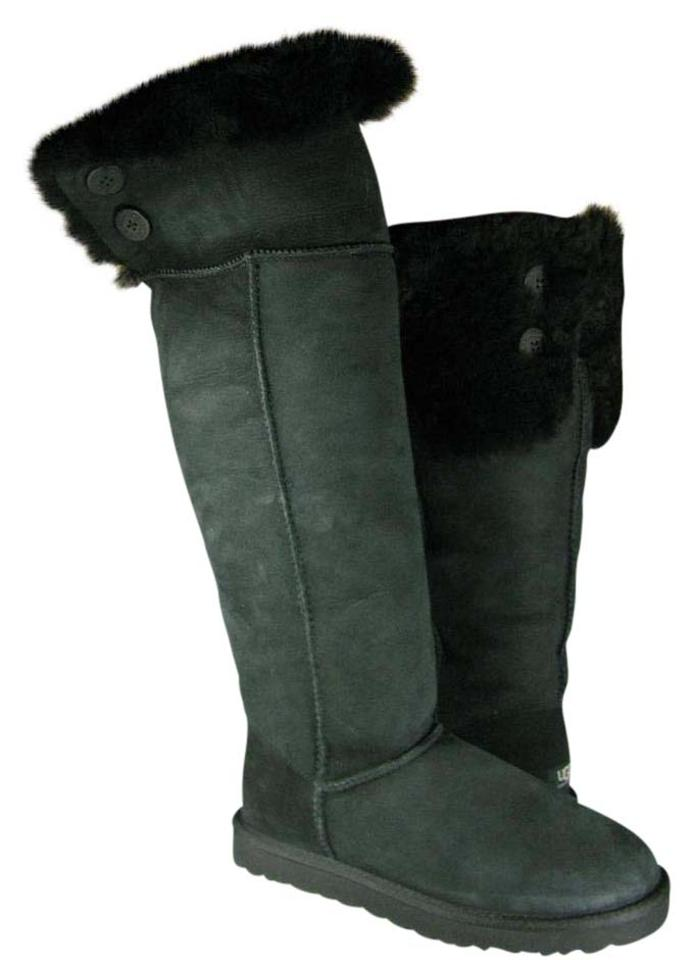 c6635f098fa UGG Australia Black Over The Knee Bailey Button Womens Boots Booties ...