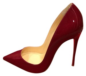 Christian Louboutin Heels Stiletto So Kate Patent Black Dark Red Pumps