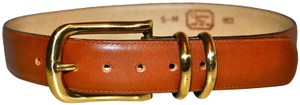 Dior Vintage CHRISTIAN DIOR Brown Leather Belt with Gold-Tone Brass Buckle