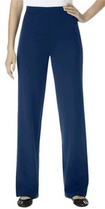 Women Within Plus Size Womens Ponte Knit Blue Stretchy Boot Cut Pants Navy