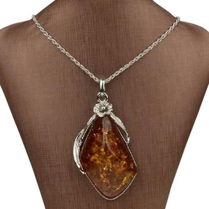 Other BALTIC amber look NECKLACE WITH PLAIN SILVER CHAIN
