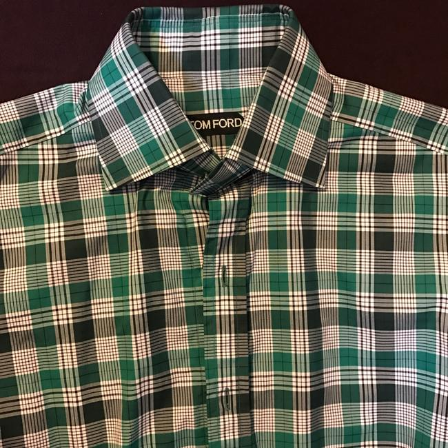 Tom Ford Button Down Shirt white/green check Image 2