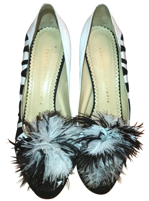 Item - Black & White Feather Puff Peep Toe Platforms Size US 7.5 Regular (M, B)